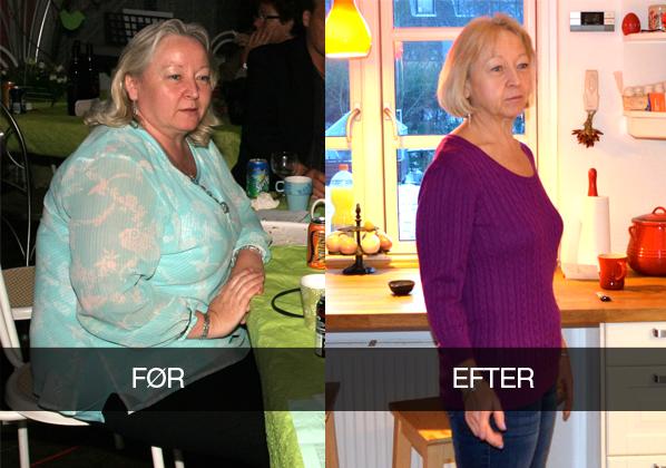 Pia vægttab før og efter