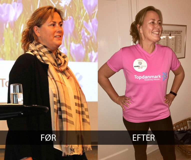 Pia's vægttab før og efter